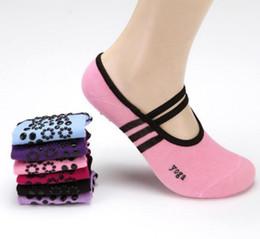 Wholesale Yoga Slip - Women Ballet Grip Yoga Socks Massage Ankle Pilates Anti-slip Dance Gym Socks Sports Slippers Sock 2pcs pair OOA3827