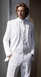 Wholesale Double Breasted Black Mens Vest - New Hot White Suit 2015 Customized Slim Fit Groom Suit Wedding suit for men Groom Tuxedos groomsman Suit Jacket+Pants+Tie+vest mens suit