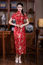 Wholesale Cheongsam Evening Dresses - Free shipping New arrival long cheongsam dress Evening Dresses Traditional chinese qipao dresses Red