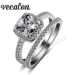 Wholesale Diamond Gold Bridal Rings - Vecalon 2016 cushion cut 3ct Simulated diamond Cz Wedding Band Ring Set for Women 10KT White Gold Filled Engagement Bridal Sets