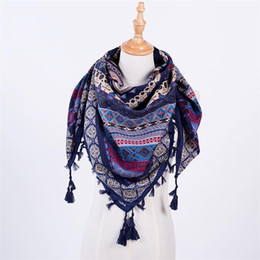 Wholesale Hot Pink Scarves - Hot Sale Bandana New Fashion Woman Scarf Square Scarves Printed Women Wraps Winter Autumn Ladies Shawl Luxury Brand Tassel
