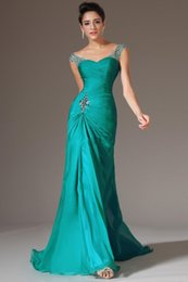 Wholesale Discount Formal Drapes - 2017 Best Selling Mermaid V-neck Floor Length Turquoise Chiffon Cap Sleeve Prom Dresses Beaded Pleats Discount Prom Gowns Formal Evening Dre