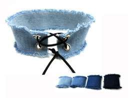 Wholesale Wholesale Jean Chains - Wholesale- Lace Up Choker Blue Denim Choker Necklace Women Gothic Chokers 2016 Neck Punk Jewelry Harajuku Big Chunky Jean Necklace Collier