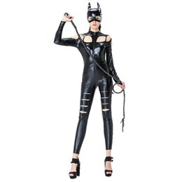 Wholesale Catsuit Full Masks - Club Catwoman lingerie masked cat lady cosplay costume with tail paint elastic leather bar ds pole dancing costume nightclub bar ds costumes