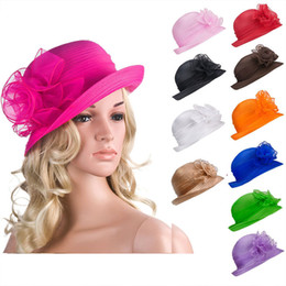 Wholesale Wide Hats - Solid Color Womens Summer flower Organza Dome Bowler Sun Hat Sunbonnet Kentucky Derby Tea Party A267