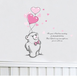 Wholesale Quotes Movies - 2017 New Love Polar Bear Wall Stickers Home Decor Wall Decal Quotes Living Room Bedroom Mural