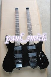 Wholesale Electric Guitar Double Neck Black - Bright black Double Neck guitar Custom SHOP & 12 strings Electric Guitar high quality fashion with harddcase free shipping