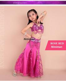 Wholesale Costumes Class - 2016 New design Children belly dance costume set 3pcs 2pcs Indian high class kids bellydance wear bra&belt&skirt on sale