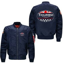 Wholesale Air Force Motorcycle Jacket - Wholesale- 2017 TRIUMPH motorcycle Flight Jacket Coat spring men's leisure jacket collar code Air Force pilots Motorcycle jacket, USA size