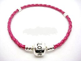 Wholesale Wholesale Leather Stamps - Wholesale Low Price 20pcs Lot Copper Silver Plate Clip Stamped Love Rose Color Leather pu Bracelets Fit European Charm Beads 15cm to 24cm