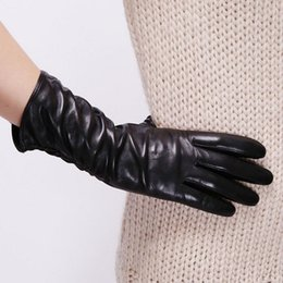 Wholesale Fingerless Opera Gloves Black - Fashion Middle Style Genuine Leather Wrist Women Gloves Winter Sheepskin Warmth Solid Black Driving Glove Special Offer L010nc