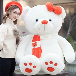 Wholesale Giant Cute Teddy Bear - Giant Cute Plush White Bear Toy Animals Pillow Soft Toys Knuffel Teddy Bear Big Brinquedos Menina Sleeping Baby Doll 50G0474