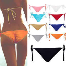 Wholesale Tying Panties - Wholesale-Sexy Solid Pink Bikini Women Summer Beach Solid Bottom Ruched Tie Side Panties plus size intimates Hot Sale Smile culotte femme