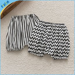 Wholesale New Baby Bloomers - 2016 New design fashion style black white zigzag stripe summer season kids cotton girls boys pants baby bloomers wholesale