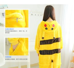 Wholesale Adult Romper Wholesale - HOT selling Lovely Pikachu Outfit Pajamas Cosplay Costume Pyjamas Onesies Adult Romper