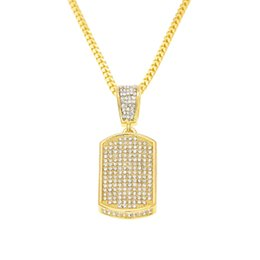 Wholesale Simulated Diamond Pendants - Mens 18K Gold Plated Iced Out Bling Tag Pendant Charm Simulated Diamonds Micro Pave Hip Hop Jewelry