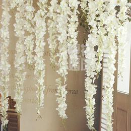 Fiori artificiali di cestino appesi a parete online-Fiori di seta artificiale di glicine di alta qualità per arco di nozze fai da te quadrato rattan fiori simulazione casa appeso a parete decorazioni cesto