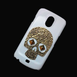 Wholesale Protective Case For Galaxy Nexus - Hard Back Case Cover for Samsung Galaxy Nexus I9250, 3D Punk Rivet Stud Vintage Retro Bronze Metallic Skull Skeleton Protective Skin Shell