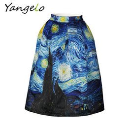 Wholesale Van Gogh Prints - Wholesale- 2017 New Arrivals Skirts Vintage Van Gogh Starry Sky Oil Painting 3D Digital Print High Waist Skirt Rockabilly Tutu Retro Puff