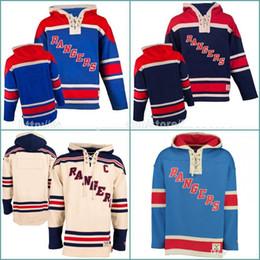 Wholesale Hockey Jersey Customized - Blue Cream Mens Warm Sweatshirts New York Rangers Jerseys Custom Hockey Jersey Hoodie Stitched Winter Blue Cream Customized Hoodies