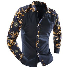 Wholesale Stitching Designs Shirts - Wholesale-2016 Fashion Brand Boutique Men'S Casual Long-Sleeved Floral Prints Stitching Design Men'S Shirts Chemise Homme Camisa Masculina