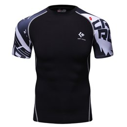 Wholesale Tight Sleeve Mens T Shirts - Wholesale- Boys Mens Compression Shirts Base Layer Short Sleeves Sides 3D Prints Thermal Under Top MMA Rashguard Tights Skin Man's T-Shirt