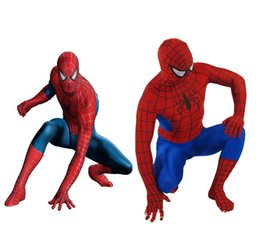 Wholesale Blue Fantastic - Fantastic!!! Red and navy Blue Lycra Spandex Spiderman Hero Zentai Costume S-XXL 1PC Retail with high quality
