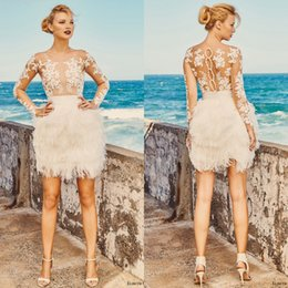 Wholesale Sexy Mini Dresses China - Latest 2017 Short Beach Wedding Dresses Modest Sheer Neckline Long Sleeves Illusion Bodice Mini Bridal Gowns Custom Made China EN8133