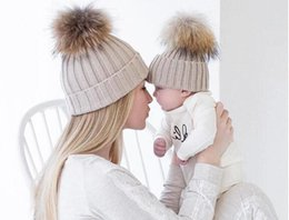 Wholesale Good Baby Child - Good quality Mom and children Winter Warm Baby Boy Girl real fur Hats Crochet Knit Hairball Beanie Parent-child cap