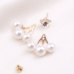 Wholesale Mother Pearl Flower Buttons - Diamond star earring female temperament Pearl button before and after the Korean version of women fashion stud earrings