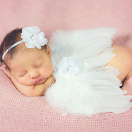 Wholesale Baby Wings Photo - Baby Angel Wing + flower headband Photography Props Set newborn Pretty Angel Fairy Pink feathers Wing Costume Photo Prop