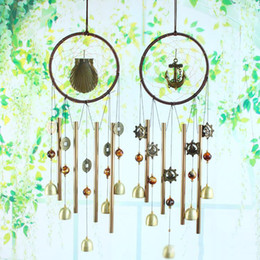 Wholesale Cooper Types - 4 Styles Antique Cooper Metal Bells Handmade Dream Catcher Net Door Chimes Home Hanging Decoration Ornaments