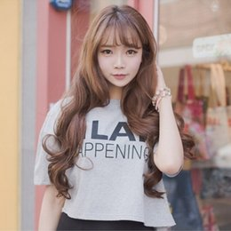 """Wholesale Long Hair Wave Style - 2016 Brand New Women Trendy Fashion Thin Bangs Long Fluffy Deep Wave Wigs Korean Style Girls Full Hairs With Cap 26"""" Free Shipping"""