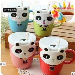 Wholesale Eye Mug - Creative fashion gift cup cute pandas wiht around eyes cup coffee mug tea cup with spoon and lid cover drinking water bottle