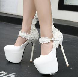 16CM Dreamy bianco perla fiore damigella d onore scarpe da sposa sexy piattaforma  tacco alto pompe taglia 34 a 40 14fbb490688