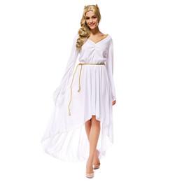 Wholesale Greek Goddess Costumes For Women - Wholesale-High Quality Adult Greek Goddess Costumes Sexy Deep V-neck Long White Dress Halloween Costumes for Women