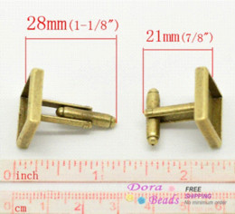 Wholesale Square Cabochon Settings - Antique Bronze Square Cuff Links 28x17mm(Fit 14x14mm), sold per packet of 3 Pairs (B17842) cabochon