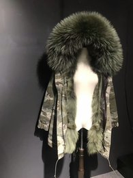 Wholesale Lined Army Green Jacket Women - Army green fur Mr Mrs itlay 100% coyote fur lining Camouflage jackets Mr Mrs furs wolf fur winter warm parka
