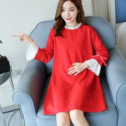 Wholesale Pregnancy Skin - Hot Maternity Dress Unique Cuff Clothes Trendy Loose Dress Pregnant Women Supply Skin-friendly Pregnancy Clothing RA0283