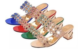 Wholesale Diamond Sandals Open Toe - 2015 summer women's fashion casual high-heeled open-toed sandals slippers woman sweet crude with diamond shoes sandals