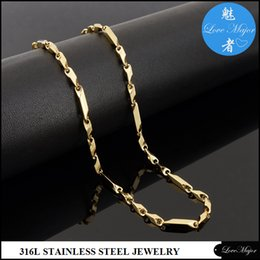 Wholesale Thick Gold Chains Designs - Gold plated stainless steel necklace fashion jewelry with 3:1 design 3mm thick stick chain for women