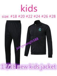 Wholesale Youth Boys Jackets - top quality kids jacket 2017 2018 Real Madrid soccer jackets kits 17 18 RONALDO KROOS BENZEMA BALE ISCO MODRIC youth tracksuit jacket