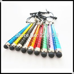 Wholesale Mini Stylus Cap - Wholesale-Fast shipping Mini Capacitive Stylus Touch Pen With 3.5mm dust cap For iPhone ipad samsung for htc blackberry 5000pcs lot