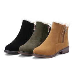 Wholesale C Cashmere - Women Winter Boots New Arrival nubuck Leather Snow Boots Pig Suede Plush Cashmere Warm Ankle Boots Casual Flats Shoes