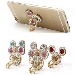 Wholesale Diamond Mobile Phone Stand - Phone Holder Mickey Head Diamond Ring Buckle Stents 360 Degrees Rotate Mobile Phone Stand Metal Stents for smartphone tablet
