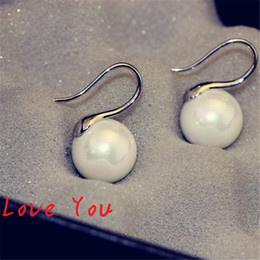 Wholesale White Pearl Earrings Silver Hook - Women's Pearl Earrings Gold Silver Plated Hook Earrings for Wedding Party Costume Fashion Jewelry Korean Stud Earrings