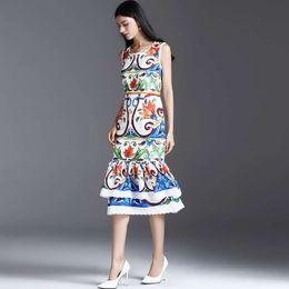 Wholesale Bunny Tails - 2017 Runway dress Women's Ceramic Print Vest Lace Slim Bunny Tail Dress in Long Skirt Dress
