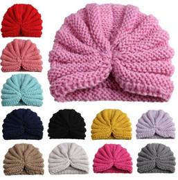 Hilo de bebé online-Moda bebé niña niño hecho a mano de lana sombreros sombreros tejer gorro de invierno sombrero de ganchillo Niño apoyos de fotografía