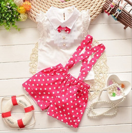 Wholesale Cute Plaid Shirts - Girls Outfits 2016 Kids Bowknot Lace Shirt + Polka Dots Suspender Trousers 2pcs Causal Suits Girls Clothes Kid Clothes Sets K7809