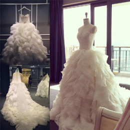 Wholesale Sexy Colors Chart - Ruched Wedding Dresses Flouncing Ivory Colors Strapless Lace Top Bridal Gowns Ruffles Wedding Dress High Quality Church Beach Garden 2017